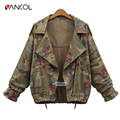 Vancol Long Sleeve Rose Jean Coat Thin Spring Autumn Denim Jacket Outwear Windbreaker Zipper Femme Coat 2016 Women Camo Jacket