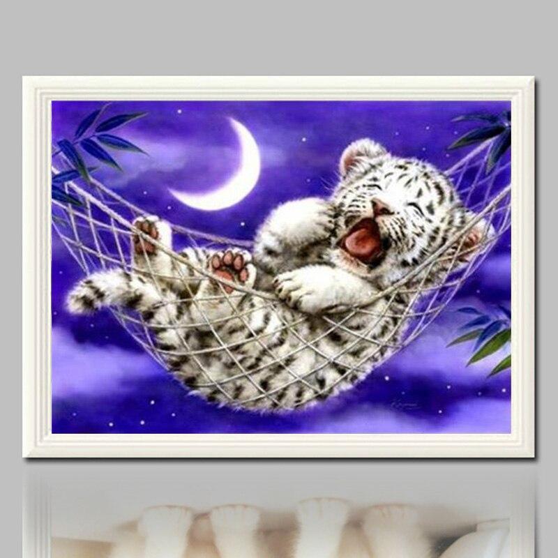 CNA Sleepy Tiger Baby 5D Diy Diamond Painting Embroidery Animal Full Drill Diamond Paintings Cross Stitch Kits Room Decoration
