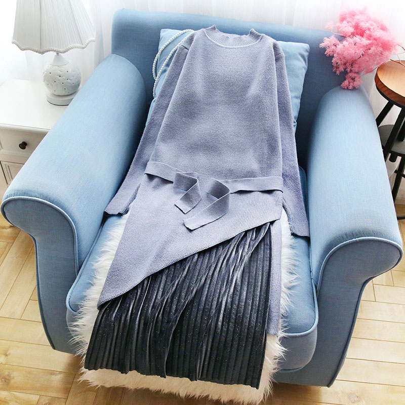 Mode Lady Slim Tous Lâche Solide Match Tire Col Outwear Blue Élégant Les 2 Femmes Pièces Tricoté Tops pink Roulé beige Chandails 2019 7w6zOqx