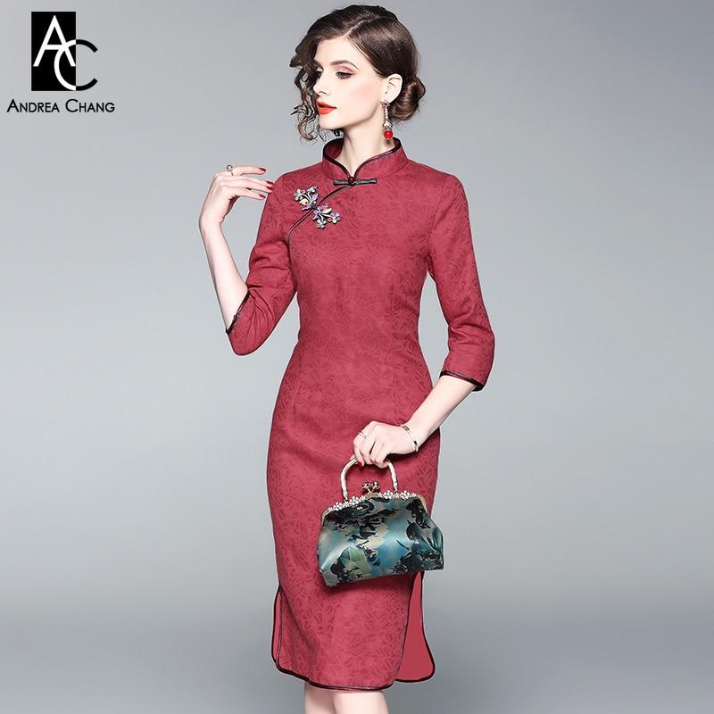 Spring Autumn Woman Dress Brick Red Knee Length Dress 3/4