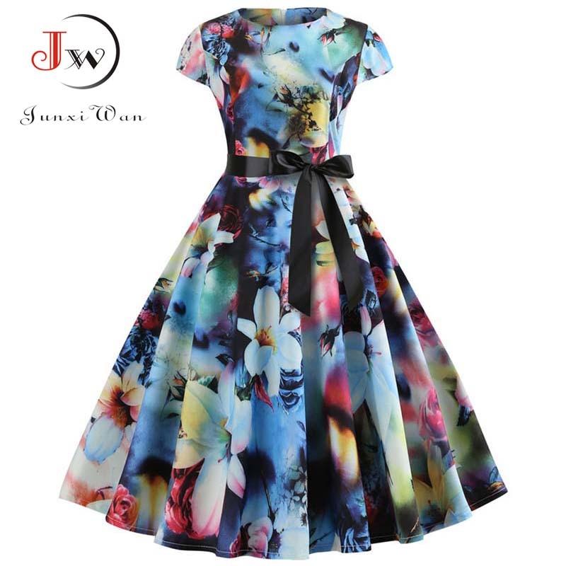 Women Vintage Dress 2019 Summer Floral Print Short Sleeve Dresses 50s 60s Office Party Rockabilly Swing Retro Pinup Plus Size
