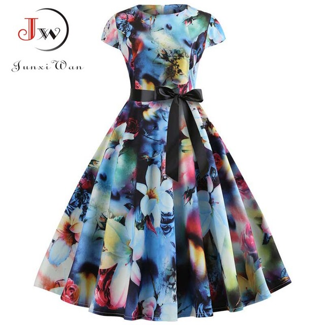 dd6088b09004b Women Vintage Dress 2019 Summer Floral Print Short Sleeve Dresses 50s 60s  Office Party Rockabilly Swing Retro Pinup Plus Size-in Dresses from Women's  ...