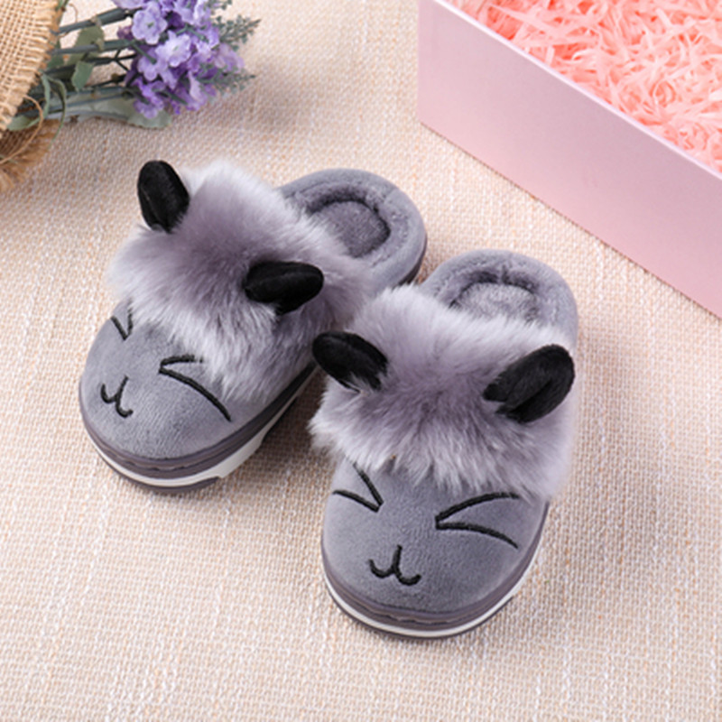 Kids Home Slippers For Girls Winter Shoes Children Boys Indoor Slippers Baby Cartoon Non-slip Slippers Girls Soft Warm Shoes
