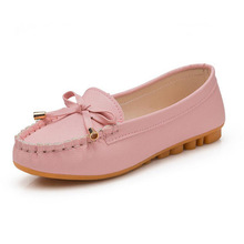 2017 women  spring round toe shoes solid color low PU bow shoes flat Moccasins formal single slip on soft casual sheos big size