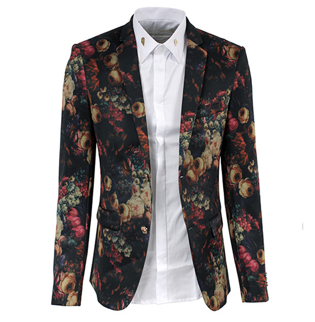 Men Blazer 2016 Brand Designer Digital Print Men Floral Blazer ...