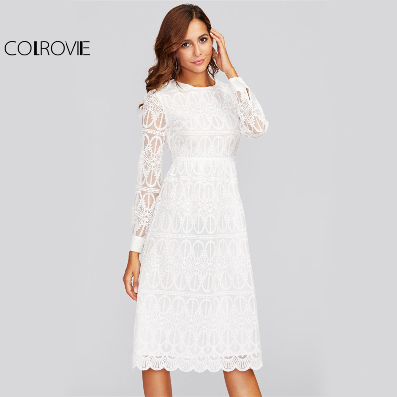 COLROVIE Scallop Hem Embroidered Mesh Overlay Dress 2017 Ladies Fashion Round Neck Long Sleeve High Waist Elegant Shift Dress scallop embroidered mesh overlay cami top