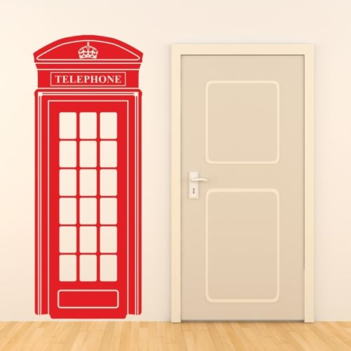 LONDON TELEPHONE BOX wall sticker retro uk phone decal mural art - Home Decor - Photo 1