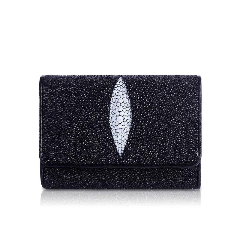 Fancy Shiny Pearl Fish Eye Designer Black Short Wallet Exotic Genuine Stingray Skin Leather Women Card