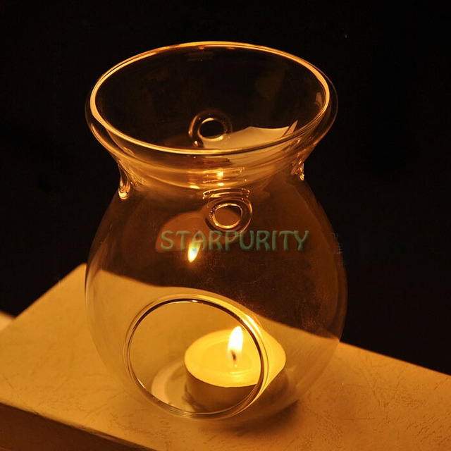 2in1 Glass Stand Hanging Candlestick Tealight Candle