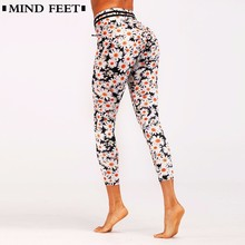 5786511339 MIND FEET Women 3D Daisy Printed Sporting Leggings Summer Knitted Slim  Bodybuilding Trousers Push Up Hip