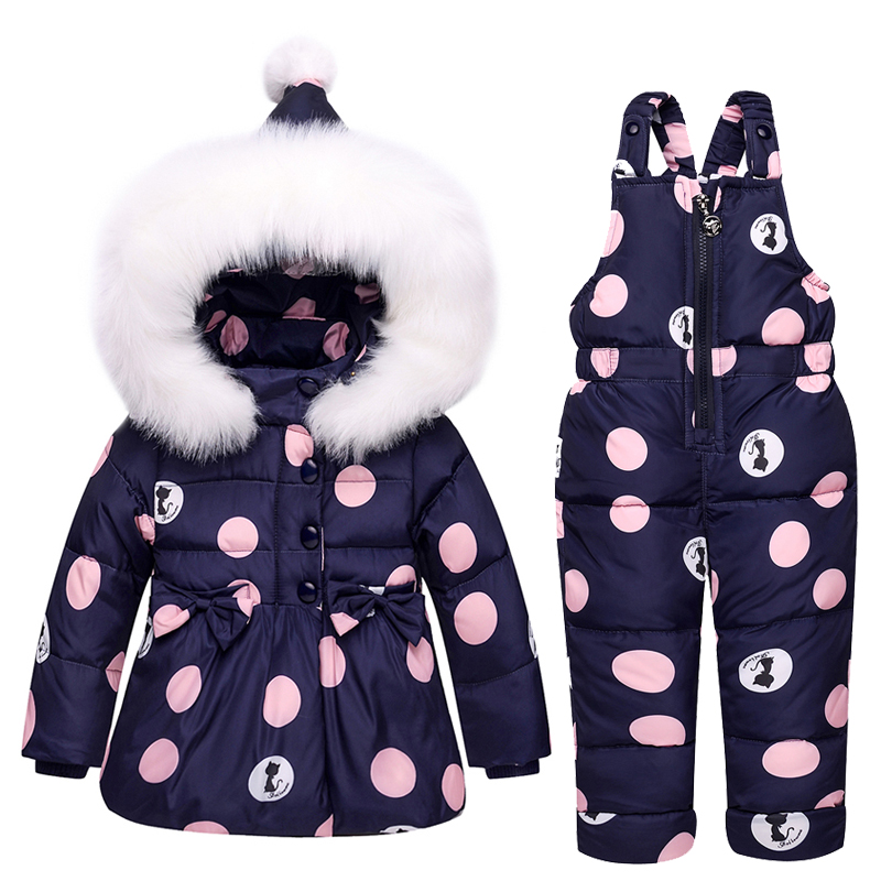 Russia Hot Sale Kids Clothes Autumn Winter Down Jackets For Girls Dots Warm Coats Snowsuits Children Outerwear Overalls Jumpsuit fashion girl thicken snowsuit winter jackets for girls children down coats outerwear warm hooded clothes big kids clothing gh236