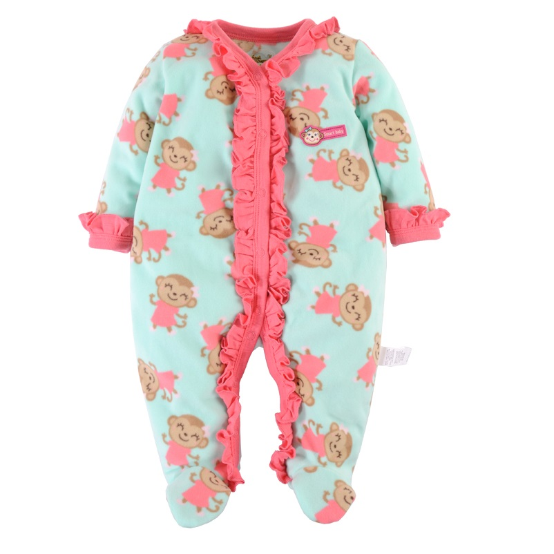 2016 Brand New Baby Girls Rompers Fleece Body Warmer Coral velvet Pink Monkey Pajamas Sleepwear Comfortable Outfit Free Shipping