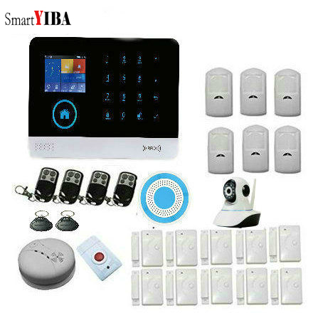 SmartYIBA WIFI Home Security GSM Alarm Systerm Support IOS Android APP Control LCD Alarm Systems Security with IP Camera Italian smartyib whole home alarm systerm business security alert with ios