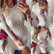 PinkyIsBlack 2019 New Autumn Winter Warm Sweater Dress Women Sexy Slim Bodycon Dress Female O neck Long Sleeve Knitted Dress
