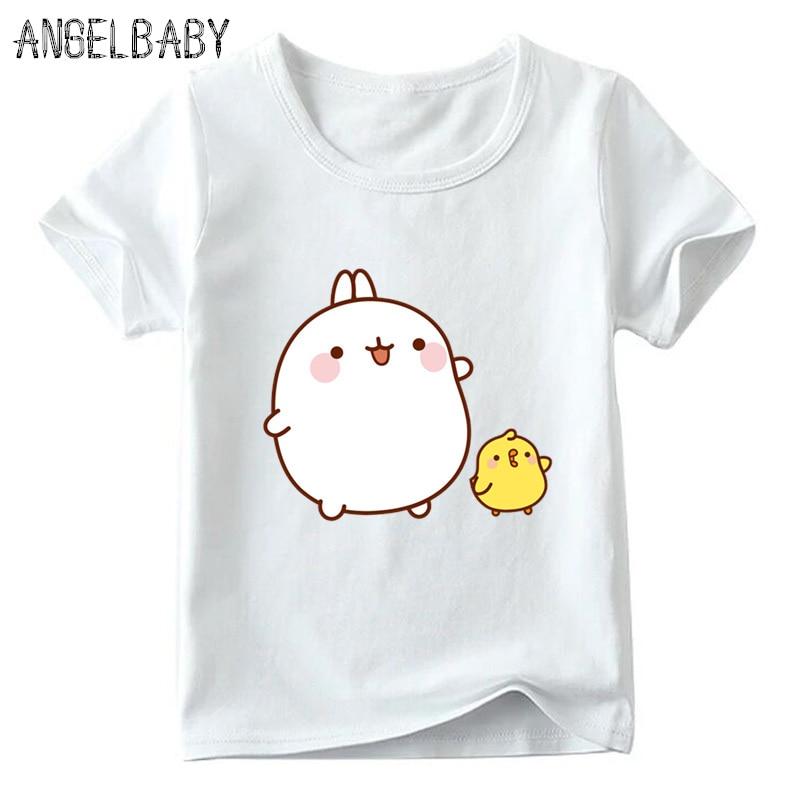 Kids Cartoon Molang And Piupiu Pattern T Shirt Baby Boys/Girls Summer T-shirt Cute Rabbit Molang Bunny Funny Clothes,ooo5217