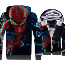 Spider Man Jacket Men Super Hero Hoodie Crossfit Sweatshirt Winter Thick Fleece Warm 3D Print Coat Sportswear High Quality Mens