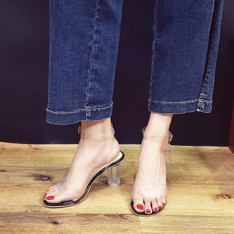 Temizle Pvc sandalet kadınlar şeffaf kristal sandalet yuvarlak topuk kadın su geçirmez plaj sandalet bayan yüksek topuklu ayakkabı damla gemi