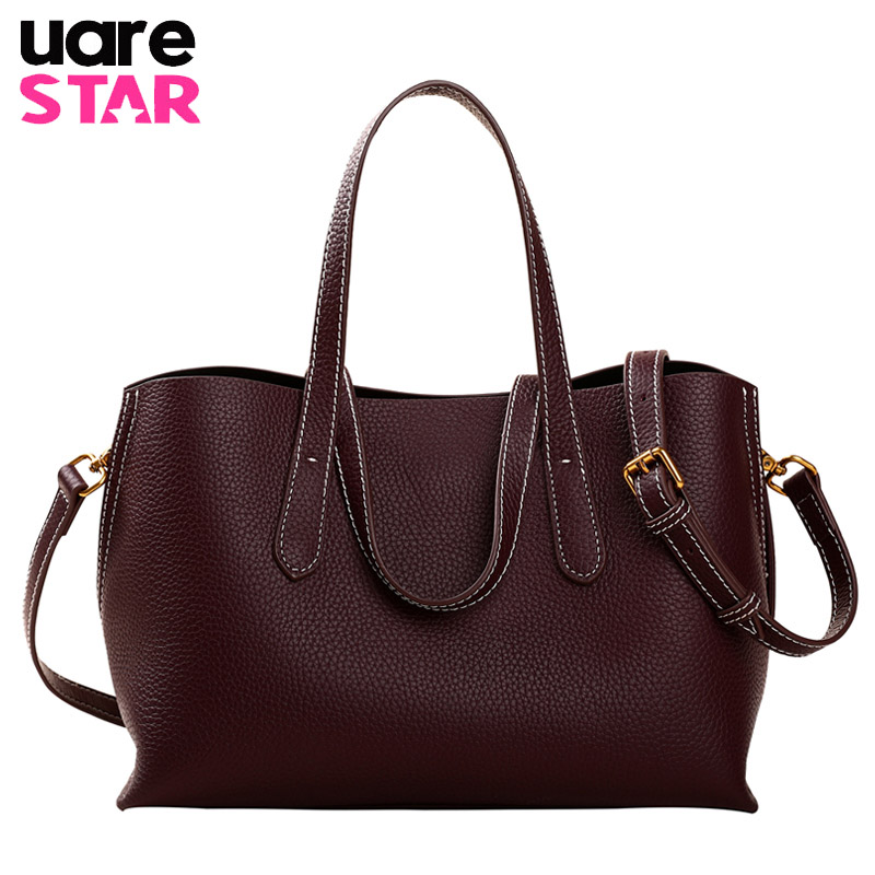 Genuine Leather Women Tote Bag Luxury Handbags Women Bags Designer Lady Shoulder Bag Crossbody Bag fashion women genuine leather handbags large capacity tote bag oil wax leather shoulder bag crossbody bags for women
