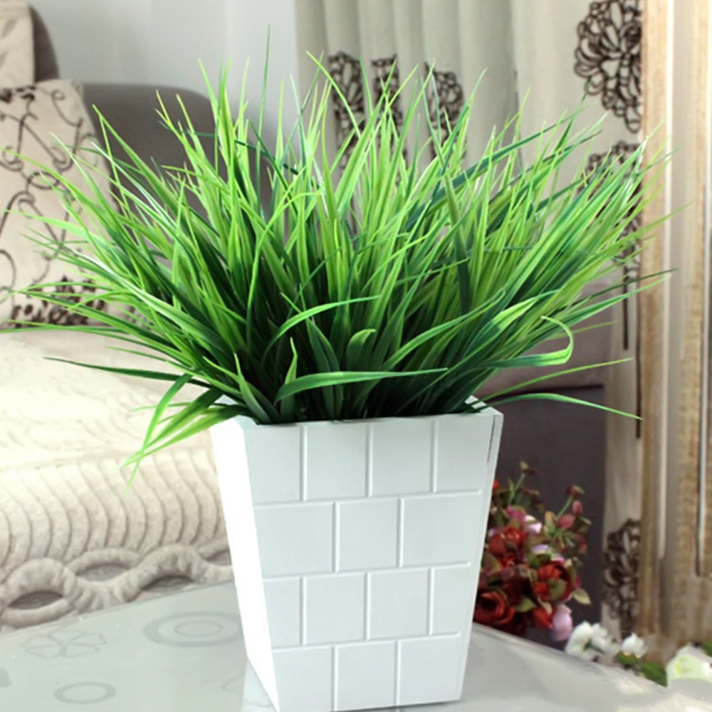 1PC Artificial 7 Fork Green Grass Plants Fake Plastic Household Office Decoration