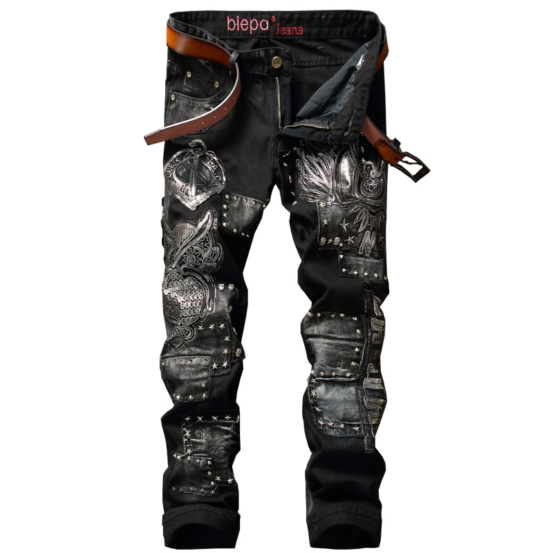 Biepa Brand Designer Men's Denim Patches Jeans Slim Fit Embroidery Jeans Pants Washed Straight Trousers With Rivets Size 28-38 fashion mens dot painted jeans pants slim fit straight printed denim joggers man ink splash black jean trousers brand designer