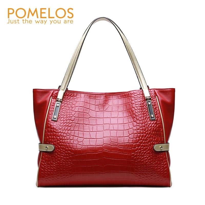 POMELOS Women Bag 2018 New Arrive Women Handbags Genuine Leather Shoulder Big Bag Leather Ladies Handbag Design Luxury Tote Bag