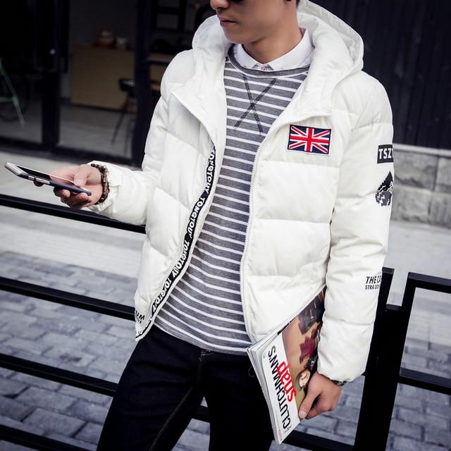 La chaqueta de los nuevos hombres grandes yardas gruesa abajo chaqueta de vestir de los hombres de moda collar de pelo aumentan fertilizantes