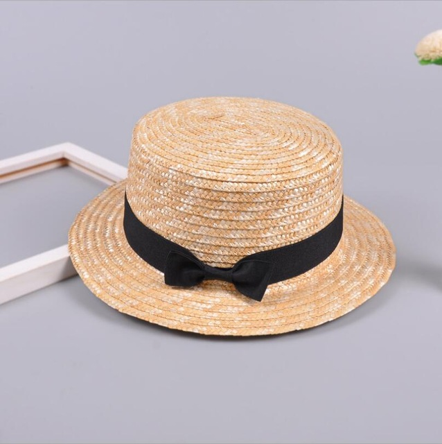 Summer Parent-child Bowknot Sun Hat Girls Straw Cap Kids Large Brim Beach Summer Boater Beach Ribbon Round Flat Top Cute Child