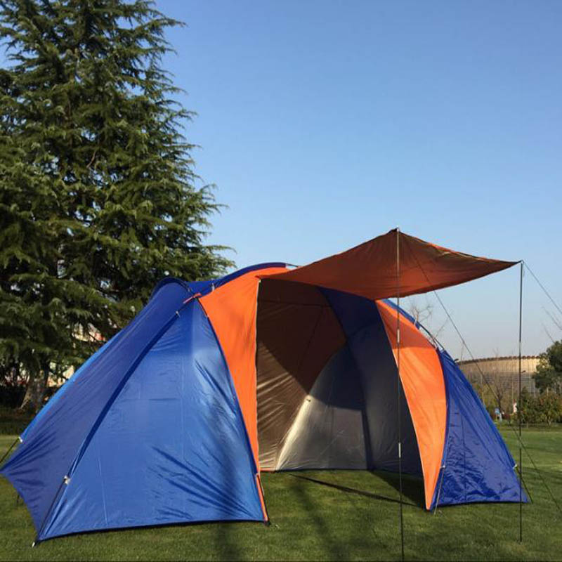 4-6 Person One Hall Two Bedroom Double Layer Ultralarge Windproof Waterproof UV Protection Camping Tent Large Gazebo Sun Shelter
