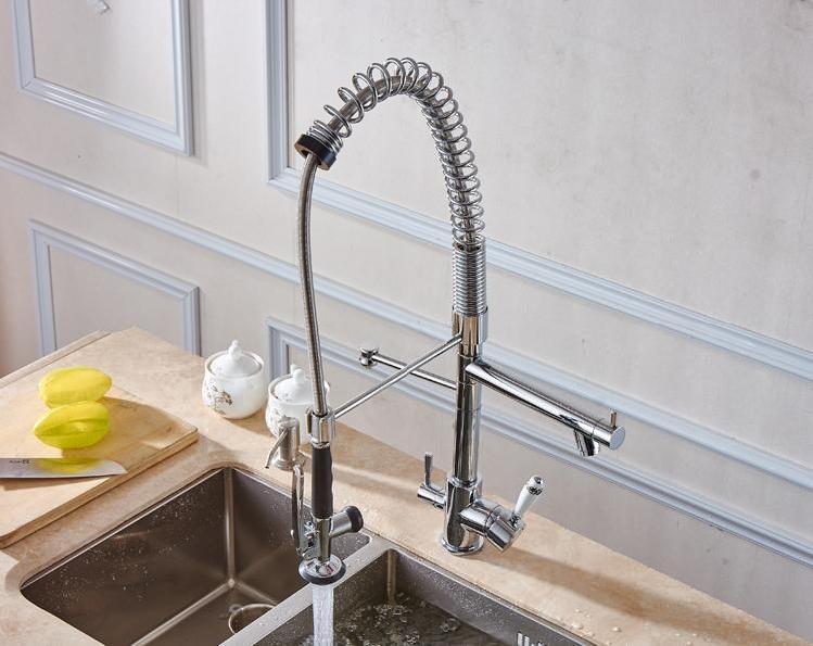 Küche becken pull out mit spray reines wasser becken wasserhahn 3 way doppel funktion füllstoff becken wasserhahn 3 kopf tap für wasser filter