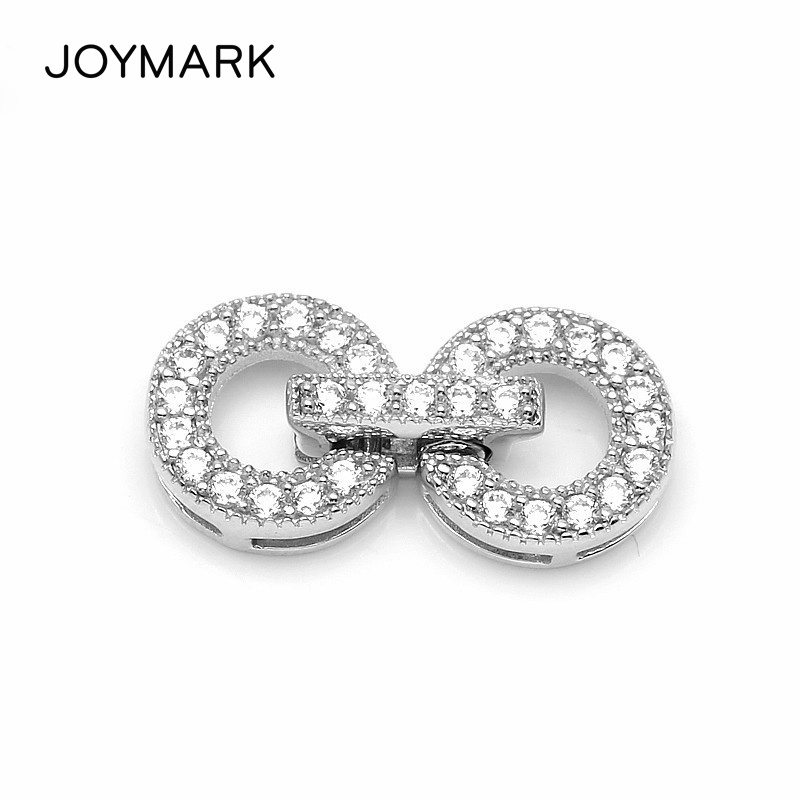 Newest 925 Sterling Silver Micro Pave Zircon Double Ring Clasp Connector Charms For Pearl Necklace And Bracelet Jewelry SC CZ049