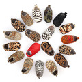 Hongteya New Genuine Leather Baby shoes Leopard print Baby Girls Soft shoes Horse hair Boys First walkers Lace Baby moccasins
