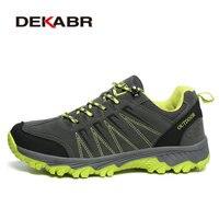 DEKABR Men Hiking Shoes Nubuck Climbing Shoes Waterproof Outdoor Trekking Sneakers Unisex Pu Leather Mountain Shoes