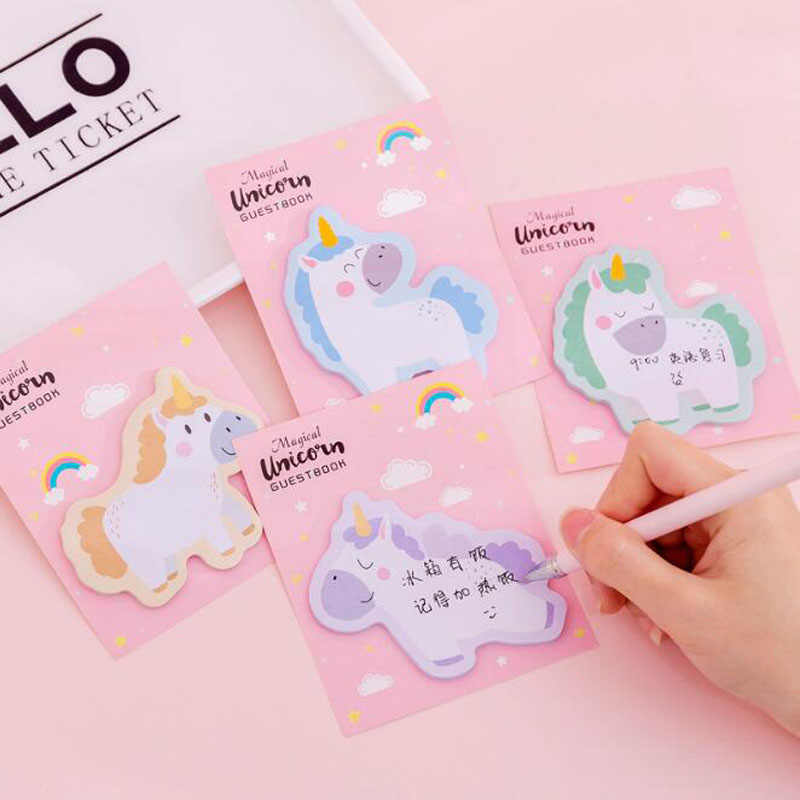1pc Cute Unicorn Memo Pad Plan Paper Sticky Notes Adhesivas Kawaii Stickers Office Supplies Korea Stationery Page Flags Sticky