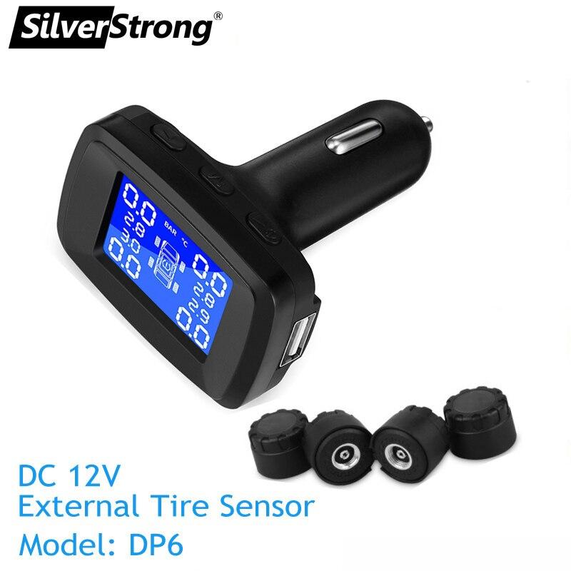 DC12V plug car Tire press monitor tire temperature monitor TPMS android usb port Cigarette lighter tire alarm  tire sensor igniter USB charger (2) - 副本