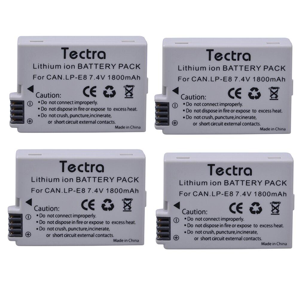4 pièces 1800 mAh LP-E8 LP E8 Batterie + USB 2 Canaux Chargeur pour appareil photo Canon LP-E8 LP E8 LPE8 EOS 550D 600D 650D 700D Baiser X4 X5 X6i X7i - 2
