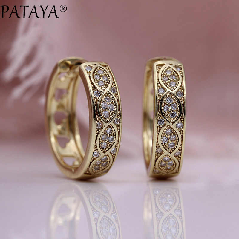 PATAYA New Hollow Love Dangle Earrings 585 Rose Gold White Round Natural Zircon Circle Earrings Women Gift Party Fashion Jewelry