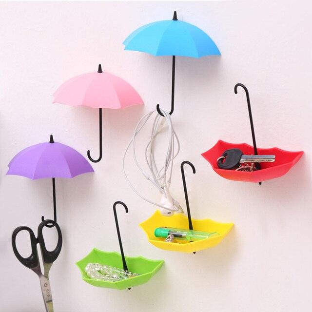 3PCs Creative Umbrella Shape Wall Mount Hook Key Holder Storage Stand  Hanging Hooks For Bathroom Kitchen