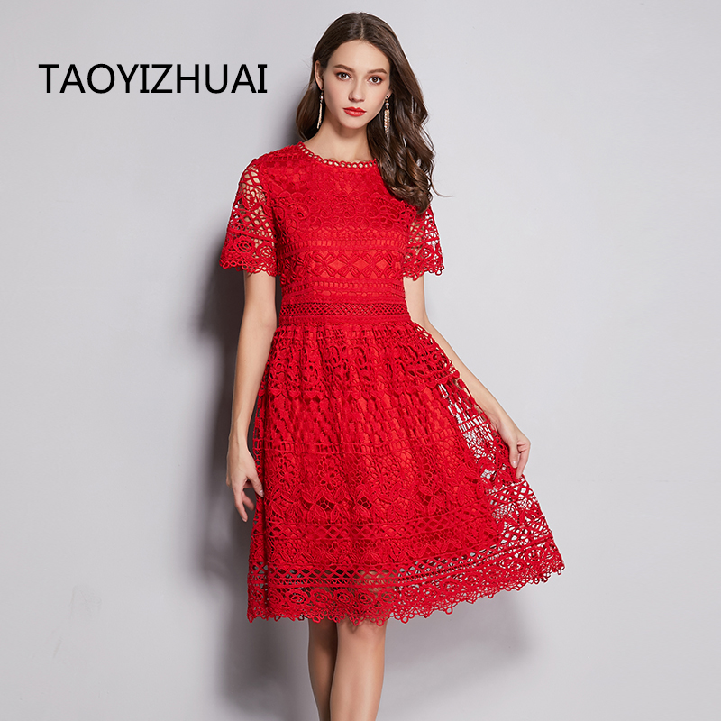 TAOYIZHUAI Chinese Style Festival Regular Short Sleeves A-line Knee Length Solid O-neck Plus Size Lace Women Party Dress 11706