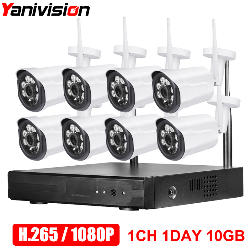 CCTV Camera System H 265 8CH Wireless 1080P HD 20m Night Vision P2P Waterproof Home Security