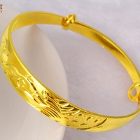 Thick Adjustable Bangle 18k Yellow Gold Filled Womens Bangle Bracelet Dragon Phoenix Pattern