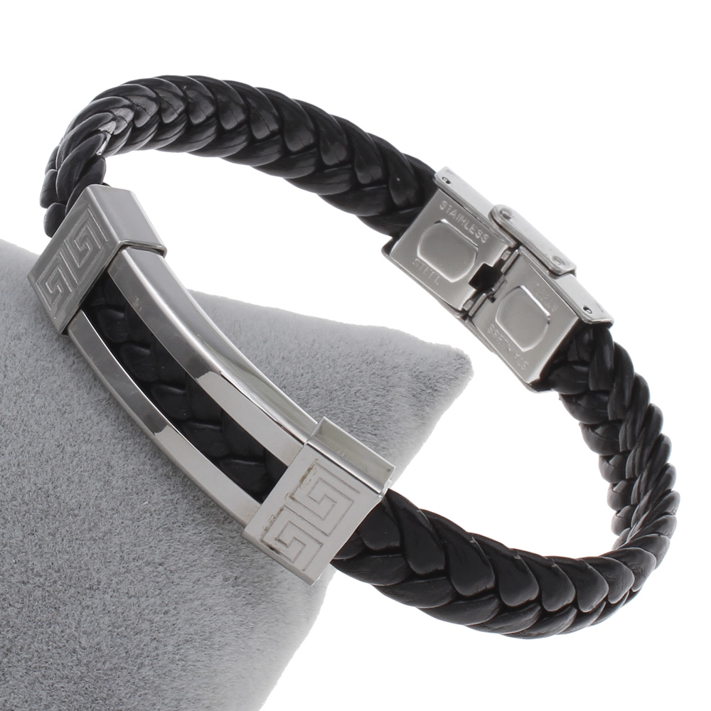 PU Cord Bracelets,christmas Steelcolor Stainless Steel Leather 42x13x6mm, Sold Per Approx 7.5 Inch Strand