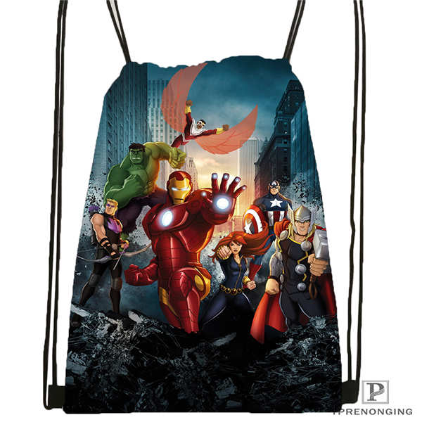Custom Marvel_character_group Drawstring Backpack Bag Cute Daypack Kids Satchel (Black Back) 31x40cm#2018612-01-18