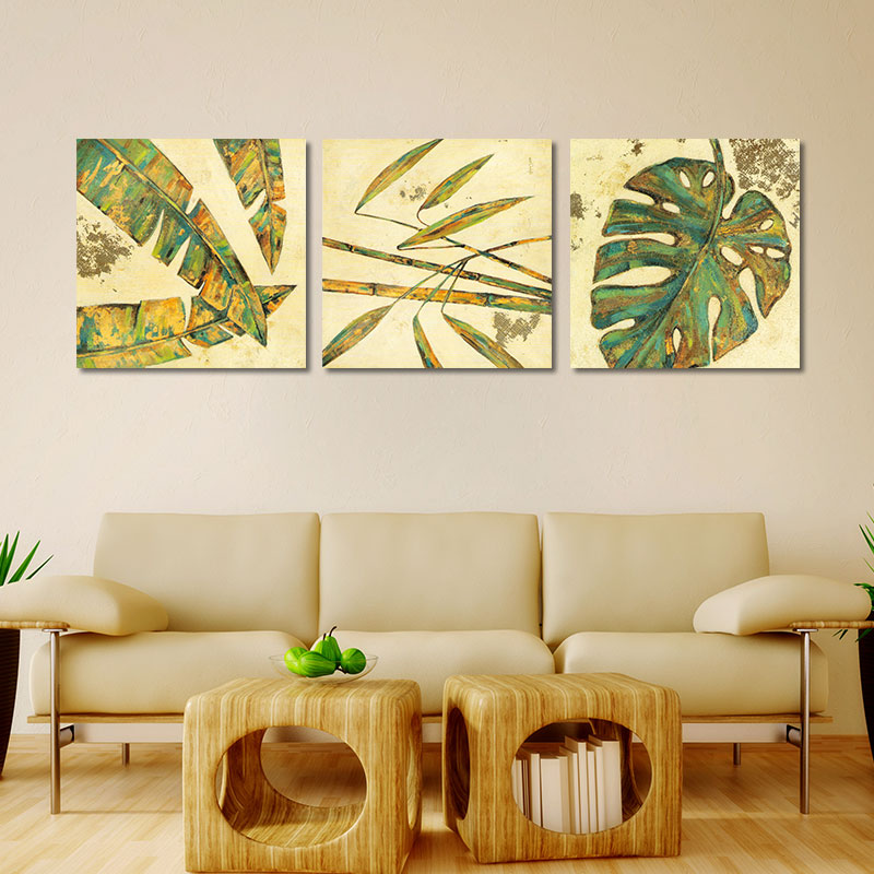 Green plant flowers leaves 4pcs decoration red flower trees wall art ...