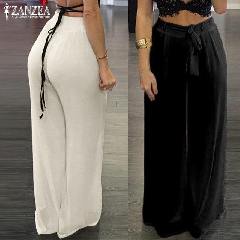 Elegant Women's Wide Leg Pants ZANZEA 2019 Chiffon Trousers Casual Summer Woman Pantalon Bow Elastic High Waist Pants Oversized