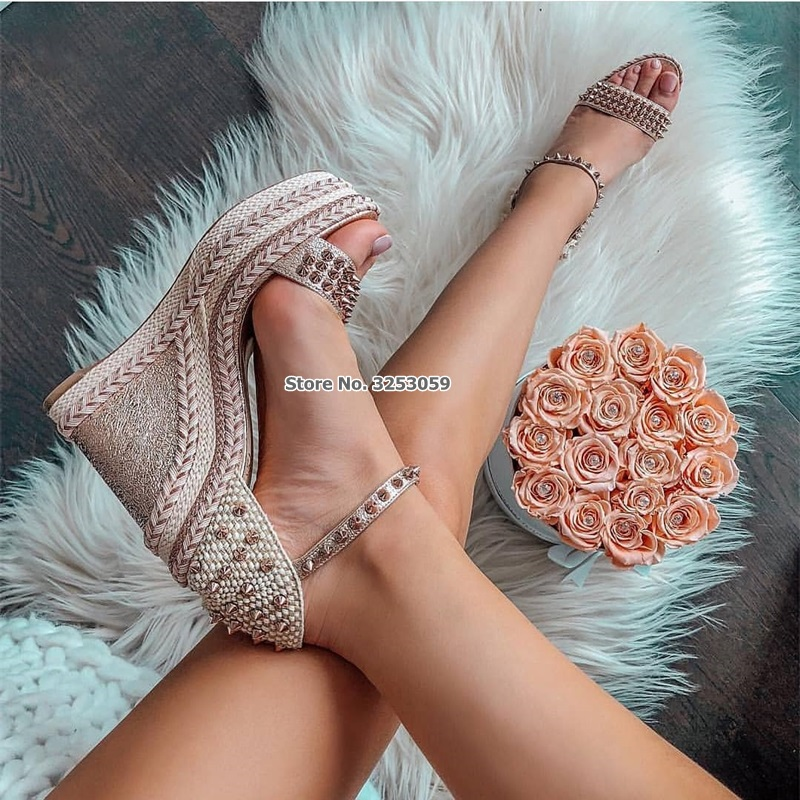 ALMUDENA nouveauté femmes talon compensé tressé Rivets sandales enveloppé talon pompes à lanières printemps été chaussures de fête livraison directe