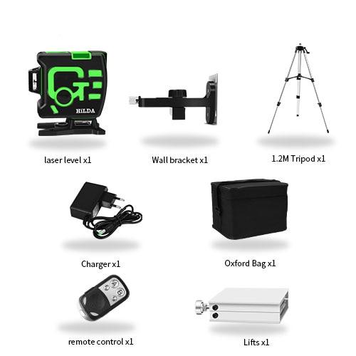 Лазерный уровень 12 линий 3D самонивелирующийся 360 горизонтальный и вертикальный крест супер мощный зеленый лазерный луч линии - Цвет: Set 10
