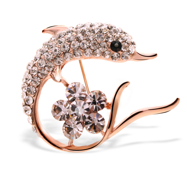 2016 New Arrival Crystal Rhinestone Dolphin Brooches Exquisite Mujer Bijoux Fancy Animal Lapel Pins Elegant Fine Accessories