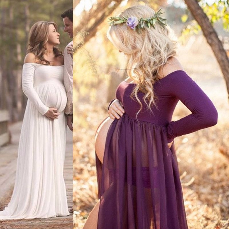 87a6eb40ee9 Maternity Women Photography Props Cotton Maternity Maxi Gown ...