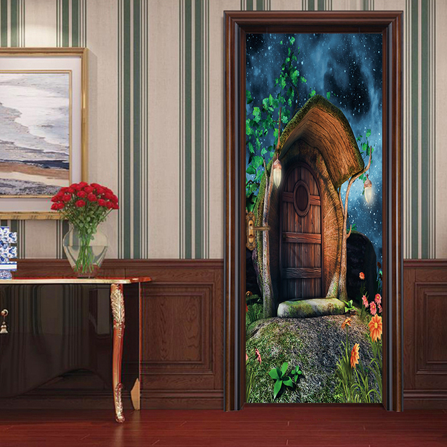 3d Art Doors Sticker Forest Huts Scenery Oil Painting Door Paint - Bedroom-doors-painting
