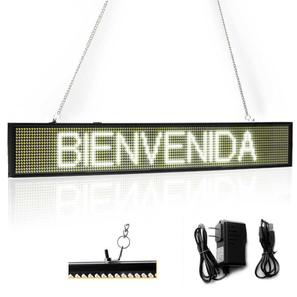 82CM EU White P5 SMD Led Sign Programmable Scrolling Message LED Display Board with Metal Chain